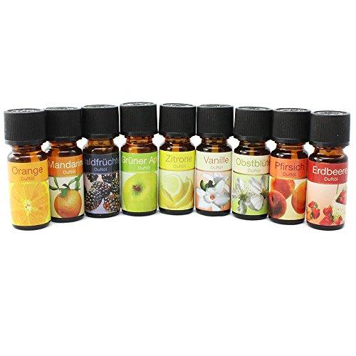 com-four® 10x Verschiedene duftende Öle - Raumduft Obst - Duftöl für Aroma-Diffusoren,...