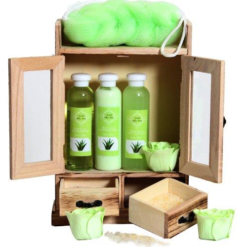 BRUBAKER Cosmetics Bade- und Pflegeset Aloe Vera im Holzschrank