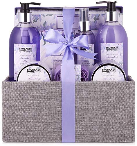 BRUBAKER Cosmetics Bade- und Dusch Set Lavendel Minze Duft - 12-teiliges Geschenkset in dekorativer...