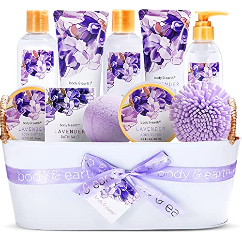 Geschenkset für Frauen- Body&Earth 12Pcs Bad Set mit Lavendel Duft, Enthält Duschgel, Schaumbad,...