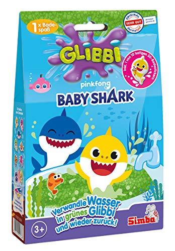 Simba 105953399 - Glibbi Baby Shark / 2-fach sortiert grün oder pink / Es wird nur ein Artikel...